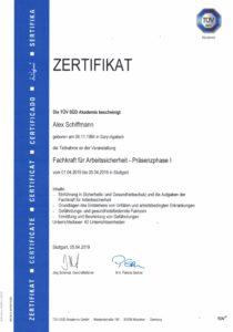 Zertifikat Fachkraft für Arbeitssicherheit Präsenzphase I