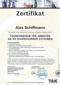 Zertifikat Fachkundiger HV-Eigensicheren-Systemen