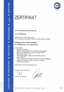 Zertifikat Sachkundiger Hebebühnen-und-Ladebrücken