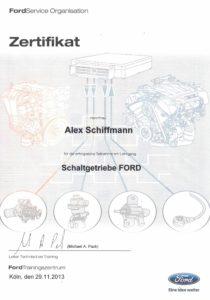 Zertifikat Schaltgetriebe Ford